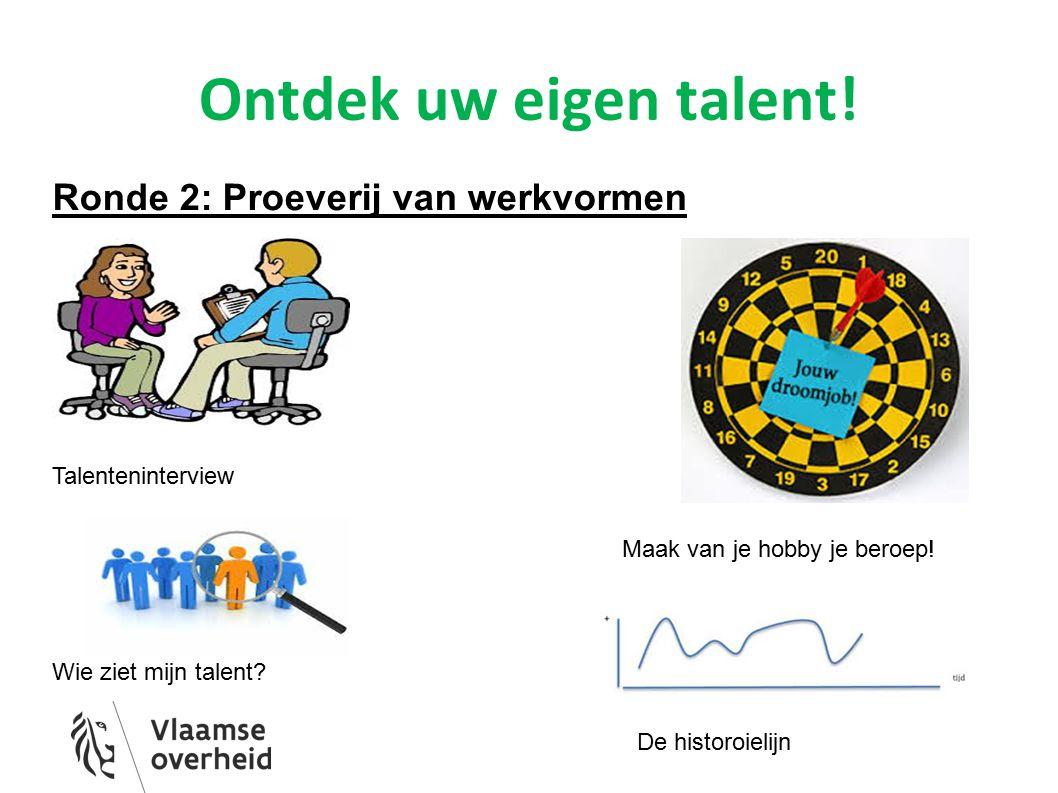 Ontdek uw eigen talent! Ronde 2: Proeverij van werkvormen Talenteninterview Maak van je hobby je beroep! Wie ziet mijn talent? De historoielijn