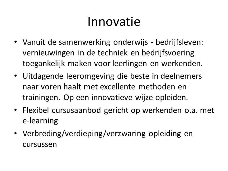 Vanuit de samenwerking onderwijs - bedrijfsleven: vernieuwingen in de techniek en bedrijfsvoering toegankelijk maken voor leerlingen en werkenden. Uit