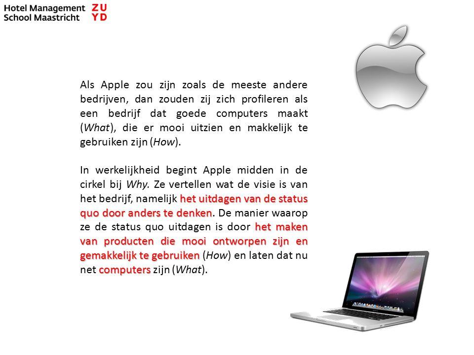 Als Apple zou zijn zoals de meeste andere bedrijven, dan zouden zij zich profileren als een bedrijf dat goede computers maakt (What), die er mooi uitzien en makkelijk te gebruiken zijn (How).