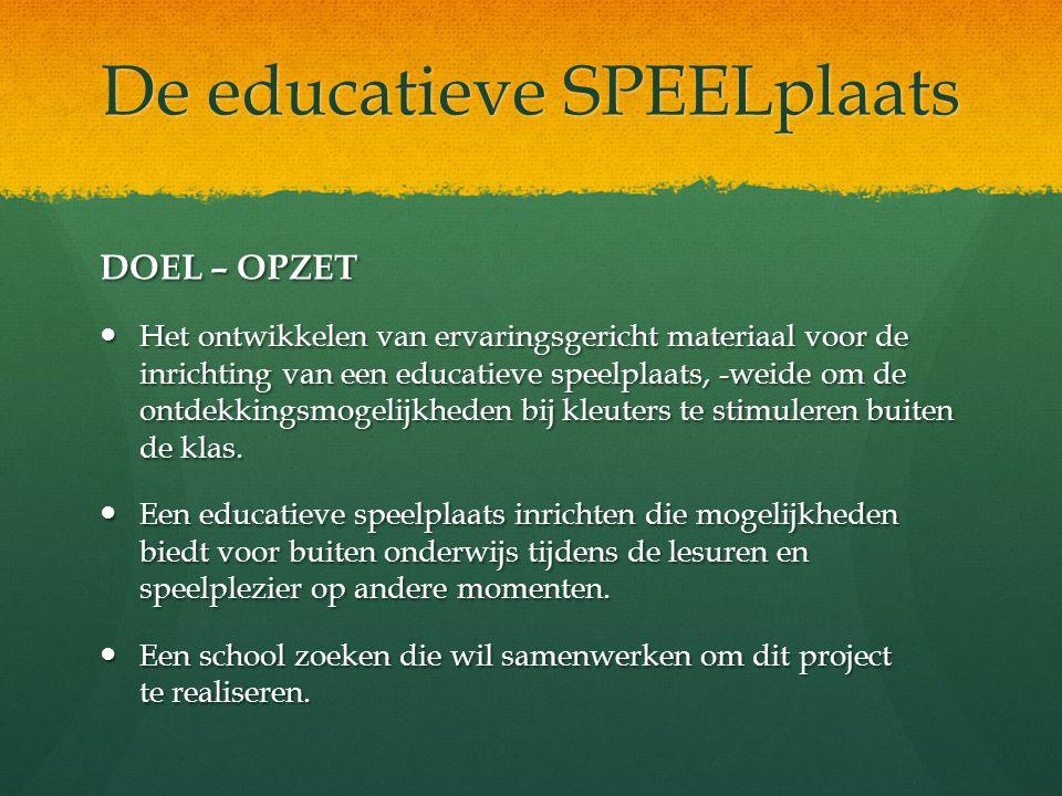 De educatieve SPEELplaats DOEL – OPZET Het ontwikkelen van ervaringsgericht materiaal voor de inrichting van een educatieve speelplaats, -weide om de