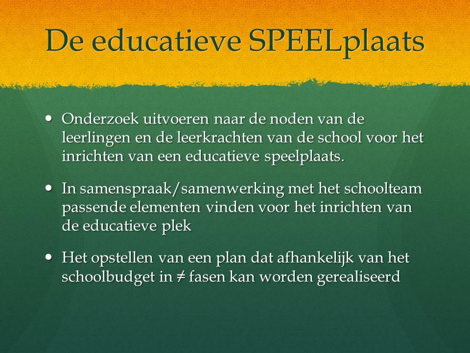 De educatieve SPEELplaats Onderzoek uitvoeren naar de noden van de leerlingen en de leerkrachten van de school voor het inrichten van een educatieve s