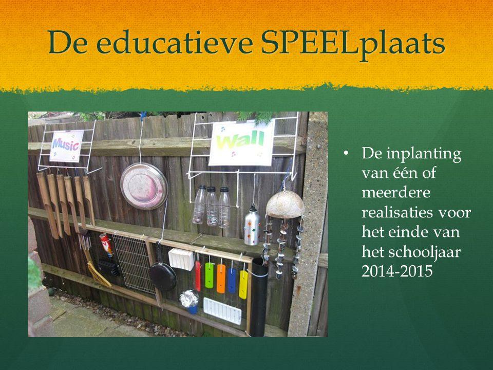 De educatieve SPEELplaats De inplanting van één of meerdere realisaties voor het einde van het schooljaar 2014-2015