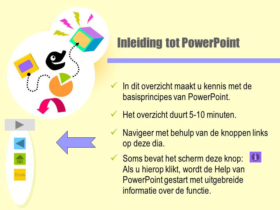Einde Inleiding tot PowerPoint In dit overzicht maakt u kennis met de basisprincipes van PowerPoint. Het overzicht duurt 5-10 minuten. Navigeer met be