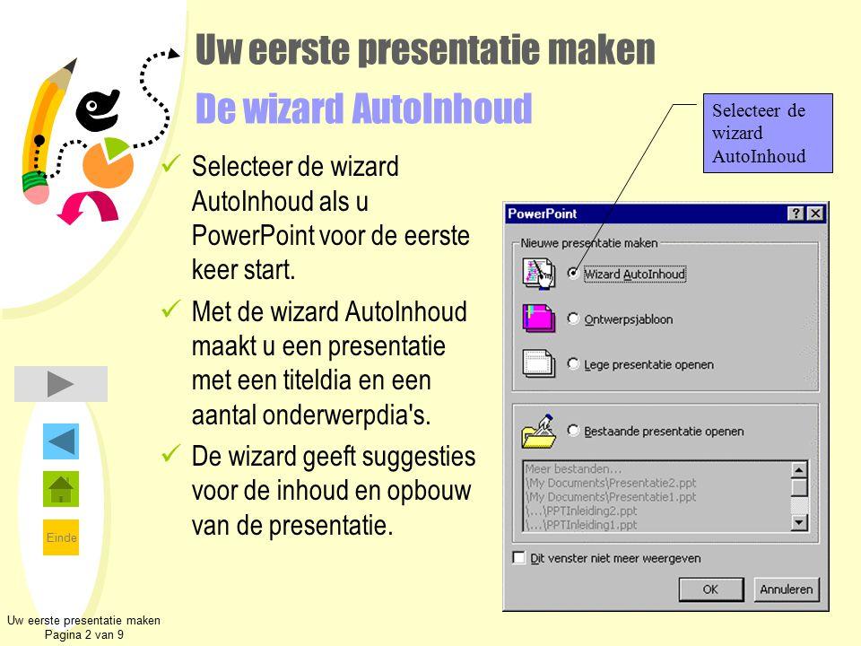 Einde Uw eerste presentatie maken Pagina 2 van 9 Uw eerste presentatie maken De wizard AutoInhoud Selecteer de wizard AutoInhoud als u PowerPoint voor