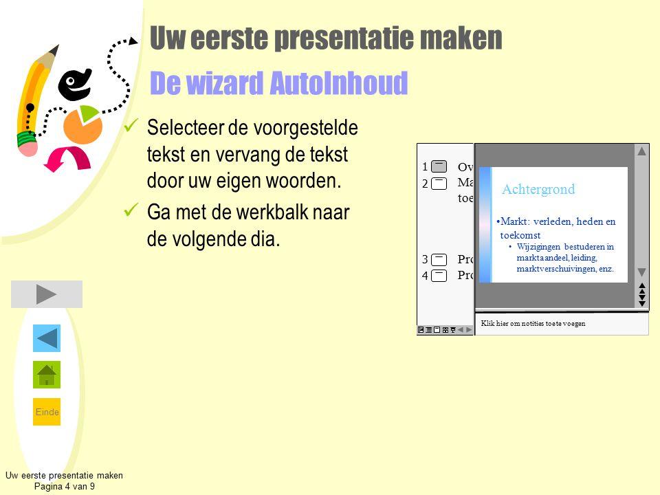 Einde Uw eerste presentatie maken De wizard AutoInhoud Selecteer de voorgestelde tekst en vervang de tekst door uw eigen woorden. Ga met de werkbalk n