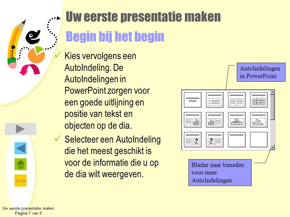 Einde Uw eerste presentatie maken Begin bij het begin Kies vervolgens een AutoIndeling. De AutoIndelingen in PowerPoint zorgen voor een goede uitlijni