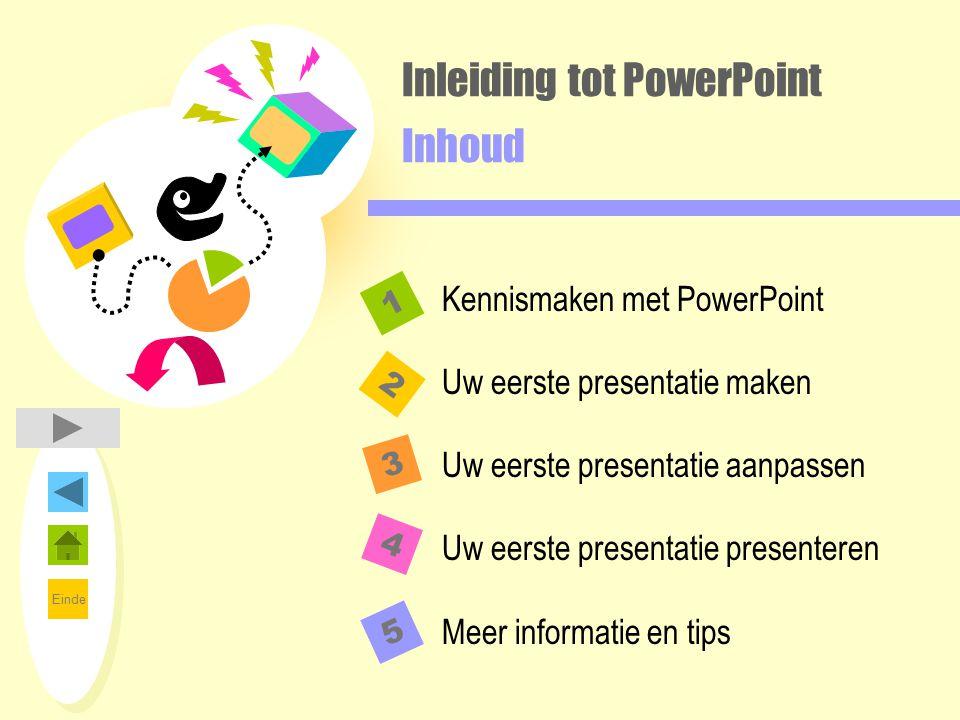 Einde Inleiding tot PowerPoint Inhoud 2 1 3 4 Kennismaken met PowerPoint Uw eerste presentatie maken Uw eerste presentatie aanpassen Uw eerste present