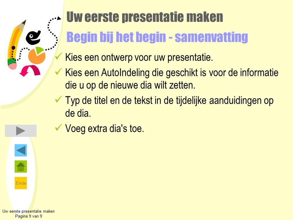 Einde Uw eerste presentatie maken Begin bij het begin - samenvatting Kies een ontwerp voor uw presentatie. Kies een AutoIndeling die geschikt is voor