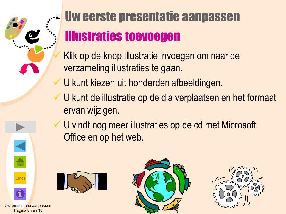 Einde Uw eerste presentatie aanpassen Illustraties toevoegen Klik op de knop Illustratie invoegen om naar de verzameling illustraties te gaan. U kunt