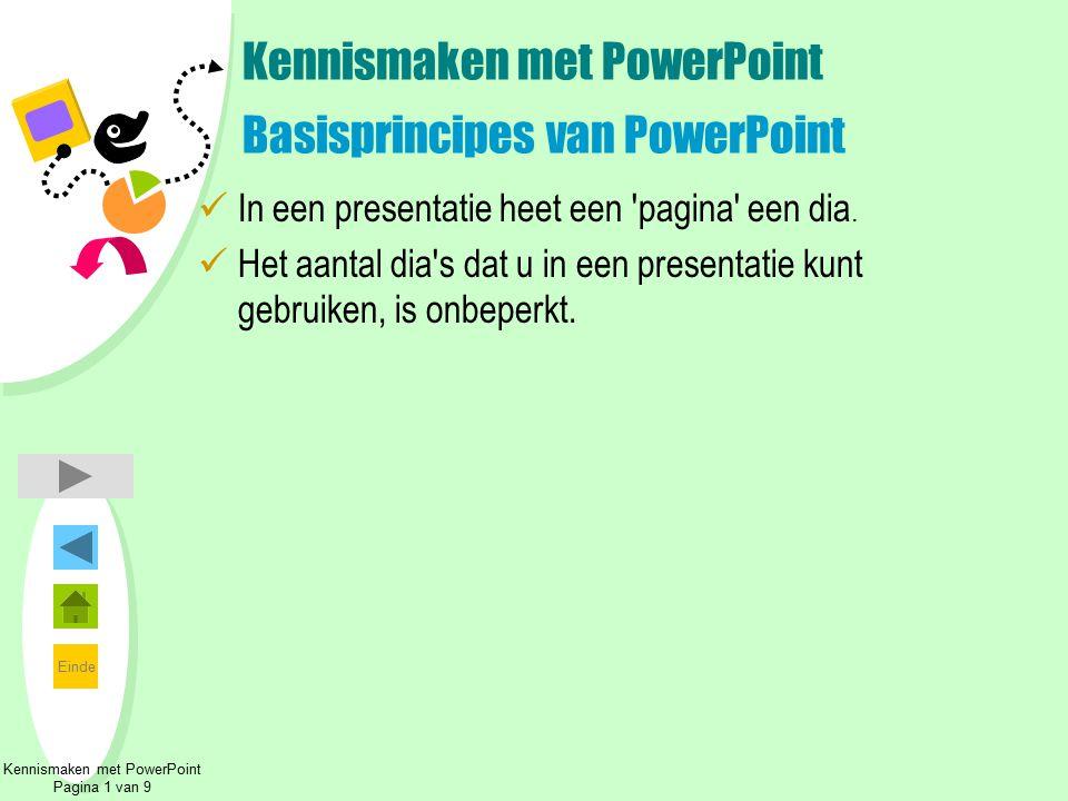 Einde Kennismaken met PowerPoint Pagina 1 van 9 Kennismaken met PowerPoint Basisprincipes van PowerPoint In een presentatie heet een 'pagina' een dia.