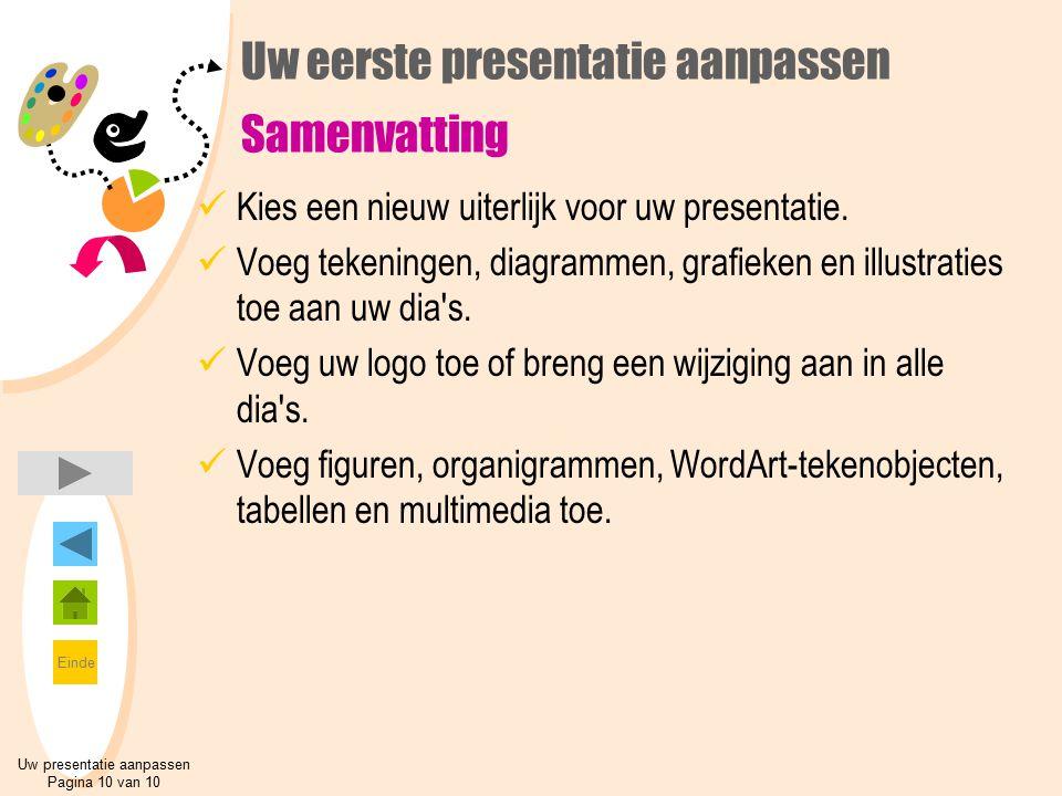 Einde Uw eerste presentatie aanpassen Samenvatting Kies een nieuw uiterlijk voor uw presentatie. Voeg tekeningen, diagrammen, grafieken en illustratie