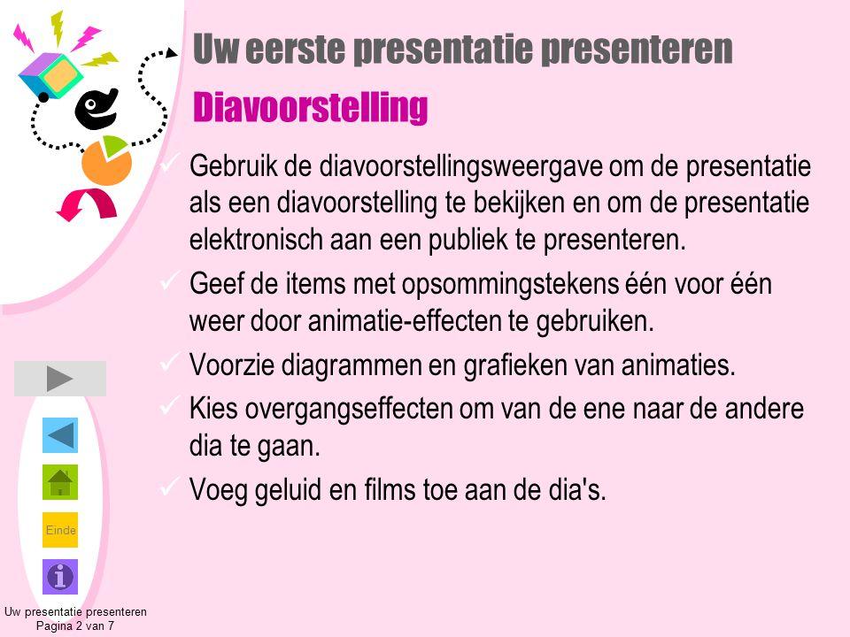 Einde Uw eerste presentatie presenteren Diavoorstelling Gebruik de diavoorstellingsweergave om de presentatie als een diavoorstelling te bekijken en o