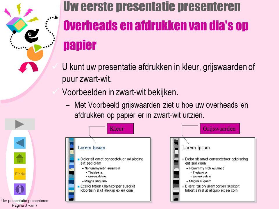 Einde Uw eerste presentatie presenteren Overheads en afdrukken van dia's op papier U kunt uw presentatie afdrukken in kleur, grijswaarden of puur zwar