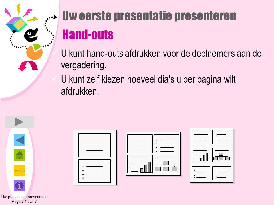 Einde Uw eerste presentatie presenteren Hand-outs U kunt hand-outs afdrukken voor de deelnemers aan de vergadering. U kunt zelf kiezen hoeveel dia's u