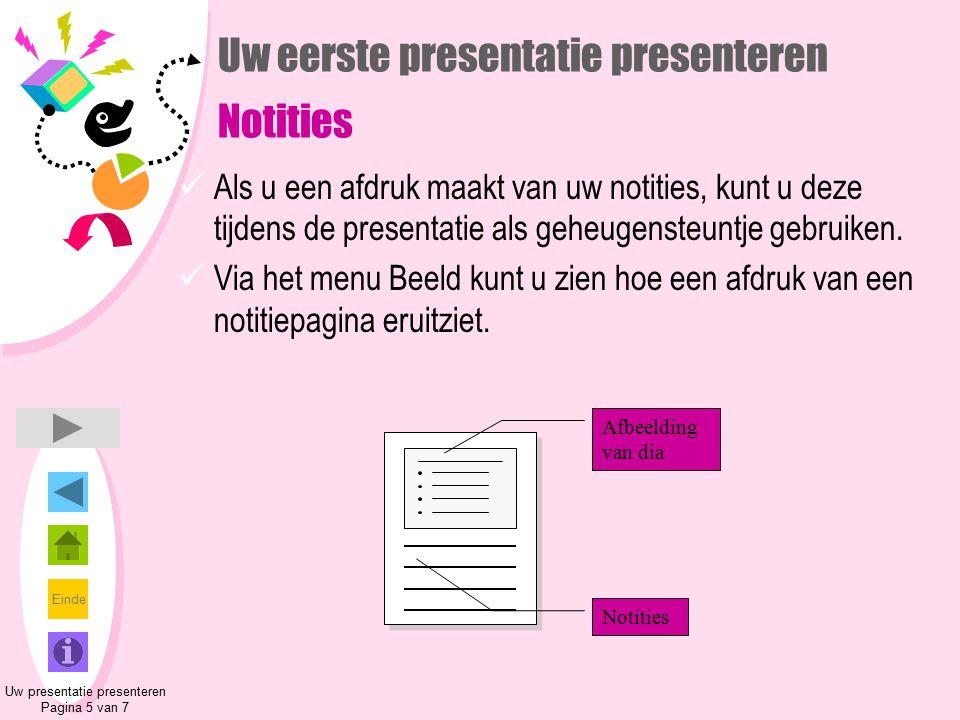 Einde Uw eerste presentatie presenteren Notities Als u een afdruk maakt van uw notities, kunt u deze tijdens de presentatie als geheugensteuntje gebru