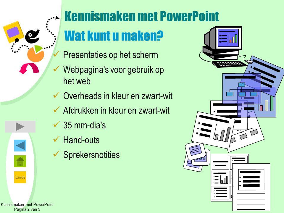 Einde Kennismaken met PowerPoint Wat kunt u maken? Presentaties op het scherm Webpagina's voor gebruik op het web Overheads in kleur en zwart-wit Afdr