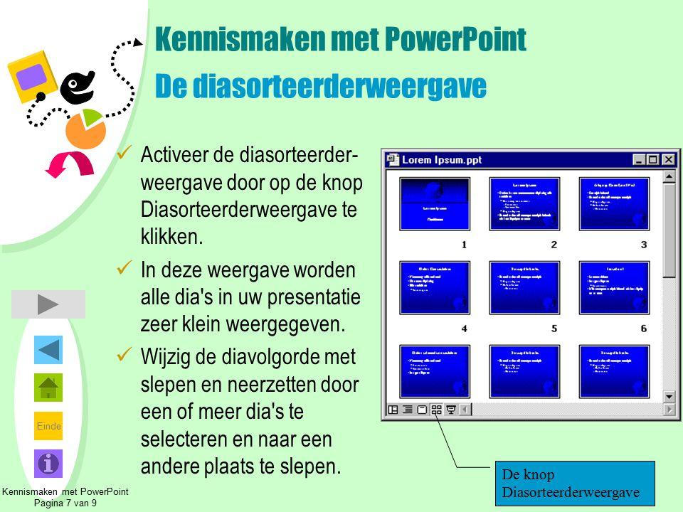 Einde Kennismaken met PowerPoint De diasorteerderweergave Activeer de diasorteerder- weergave door op de knop Diasorteerderweergave te klikken. In dez