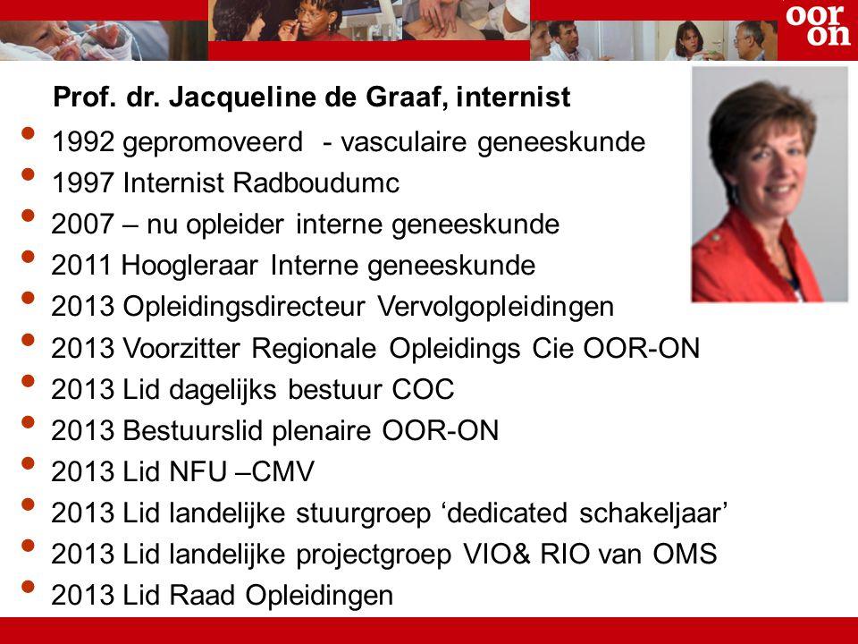 Prof. dr. Jacqueline de Graaf, internist 1992 gepromoveerd - vasculaire geneeskunde 1997 Internist Radboudumc 2007 – nu opleider interne geneeskunde 2