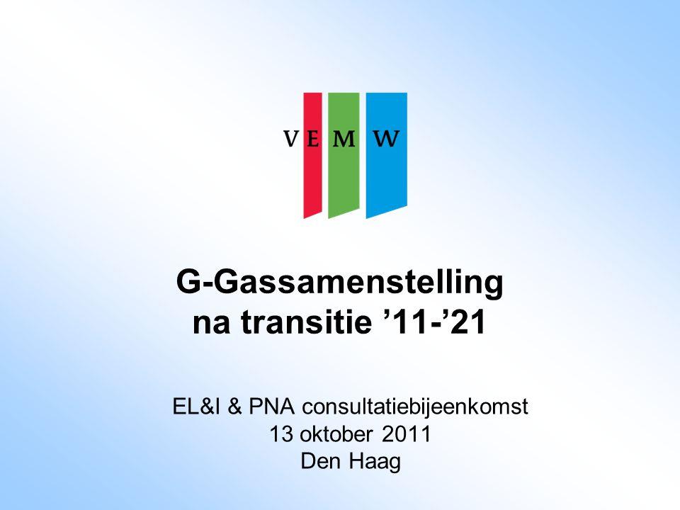 Randvoorwaarden EL&I 1.veiligheid consument en werknemer: geen lager veiligheidsniveau door veranderingen 2.energievoorzieningszekerheid (huidig en toekomstig) garanderen 3.toekomstbestendige oplossingen met zo laag mogelijke kosten 4.G-gaskwaliteit tenminste 10 jaar gegarandeerd