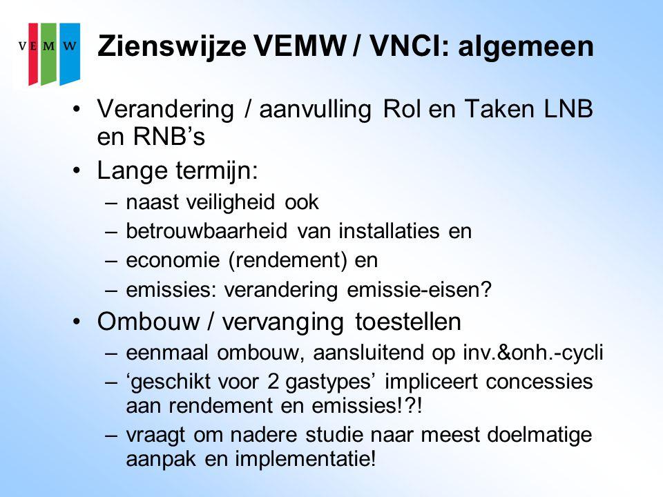 Zienswijze VEMW / VNCI: algemeen Verandering / aanvulling Rol en Taken LNB en RNB's Lange termijn: –naast veiligheid ook –betrouwbaarheid van installaties en –economie (rendement) en –emissies: verandering emissie-eisen.