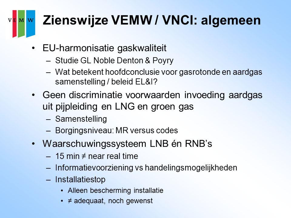 Zienswijze VEMW / VNCI: criteria Toepassingsparameters –Wobbe-max H-gasstand 56,7 ≠ 55,7 MJ/m3 –Hogere koolwaterstoffen (PE) –Methaangetal (MN) –δ (wobbe) Criteria voor veiligheid –De term 'voldoende veiligheid' is niet hard genoeg –Zijn bandbreedtes in codes 'intrinsiek veilig'?
