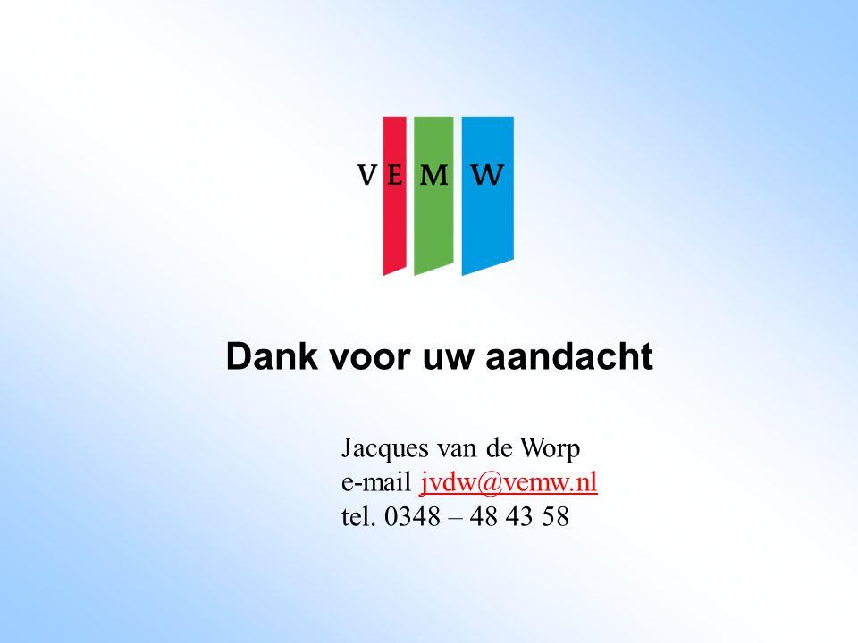Dank voor uw aandacht Jacques van de Worp e-mail jvdw@vemw.nljvdw@vemw.nl tel. 0348 – 48 43 58