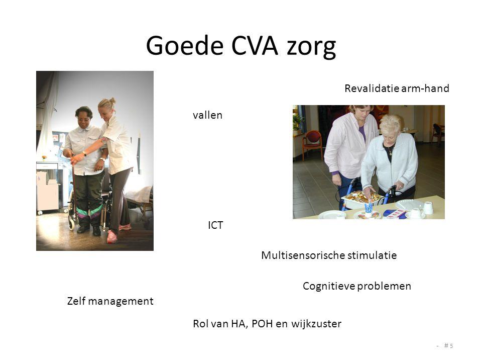 Goede CVA zorg - # 5 Zelf management ICT Cognitieve problemen Rol van HA, POH en wijkzuster vallen Multisensorische stimulatie Revalidatie arm-hand