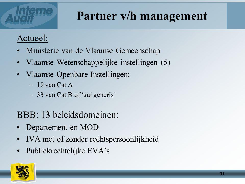 11 Partner v/h management Actueel: Ministerie van de Vlaamse Gemeenschap Vlaamse Wetenschappelijke instellingen (5) Vlaamse Openbare Instellingen: –19 van Cat A –33 van Cat B of 'sui generis' BBB: 13 beleidsdomeinen: Departement en MOD IVA met of zonder rechtspersoonlijkheid Publiekrechtelijke EVA's