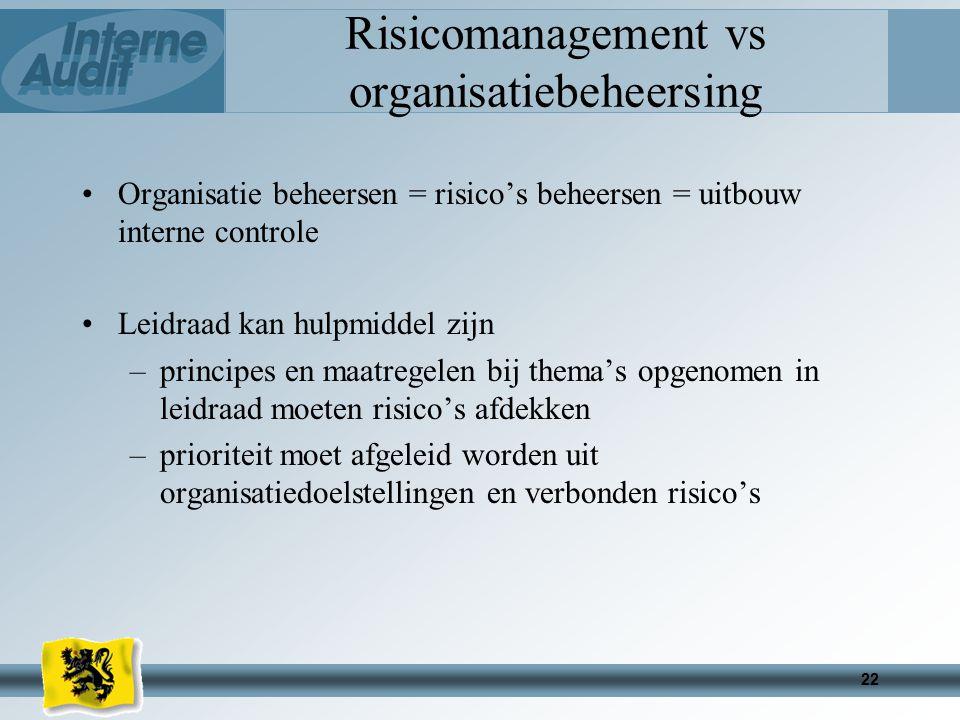 22 Risicomanagement vs organisatiebeheersing Organisatie beheersen = risico's beheersen = uitbouw interne controle Leidraad kan hulpmiddel zijn –principes en maatregelen bij thema's opgenomen in leidraad moeten risico's afdekken –prioriteit moet afgeleid worden uit organisatiedoelstellingen en verbonden risico's