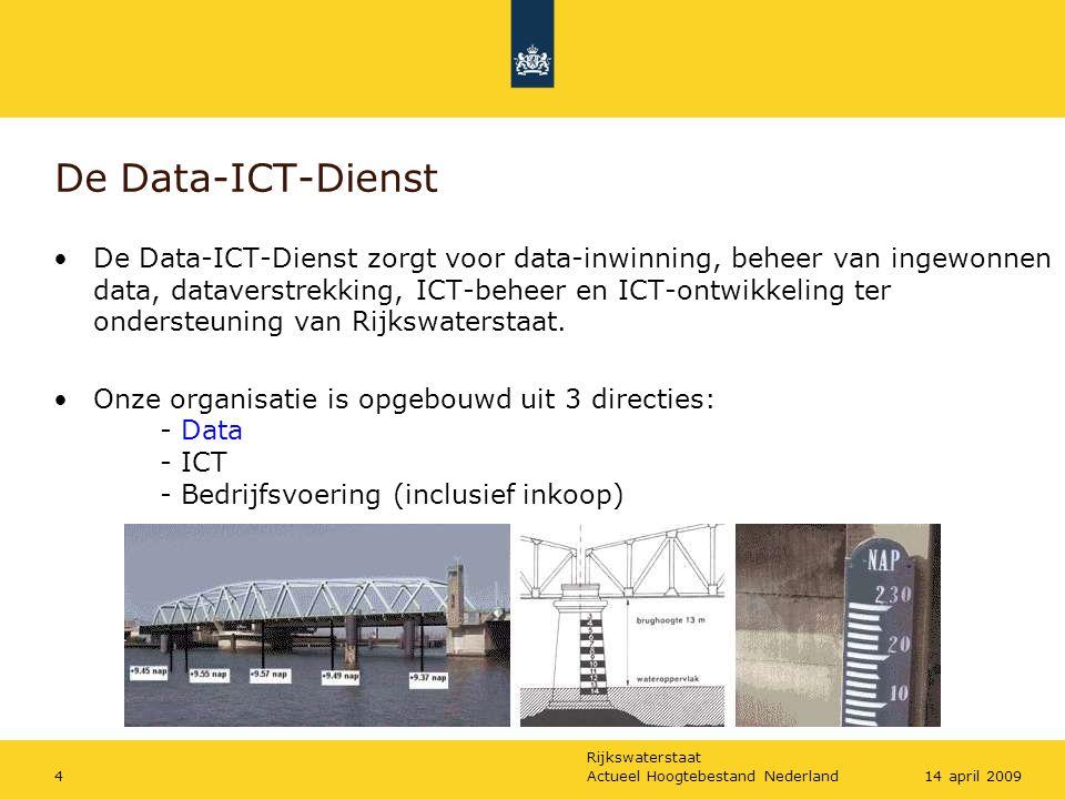 Rijkswaterstaat Actueel Hoogtebestand Nederland414 april 2009 De Data-ICT-Dienst De Data-ICT-Dienst zorgt voor data-inwinning, beheer van ingewonnen d