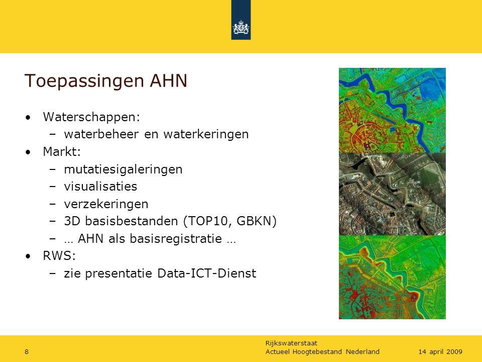 Rijkswaterstaat Actueel Hoogtebestand Nederland814 april 2009 Toepassingen AHN Waterschappen: –waterbeheer en waterkeringen Markt: –mutatiesigaleringe