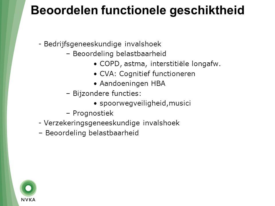 Beoordelen functionele geschiktheid - Bedrijfsgeneeskundige invalshoek – Beoordeling belastbaarheid COPD, astma, interstitiële longafw.