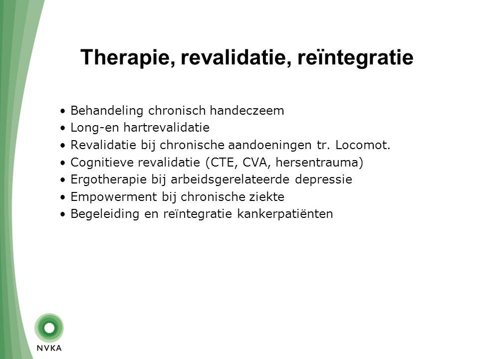 Therapie, revalidatie, reïntegratie Behandeling chronisch handeczeem Long-en hartrevalidatie Revalidatie bij chronische aandoeningen tr.