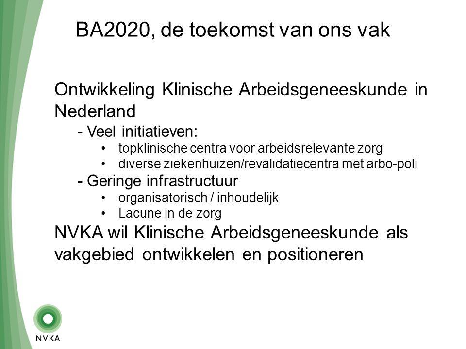BA2020, de toekomst van ons vak Ontwikkeling Klinische Arbeidsgeneeskunde in Nederland - Veel initiatieven: topklinische centra voor arbeidsrelevante zorg diverse ziekenhuizen/revalidatiecentra met arbo-poli - Geringe infrastructuur organisatorisch / inhoudelijk Lacune in de zorg NVKA wil Klinische Arbeidsgeneeskunde als vakgebied ontwikkelen en positioneren