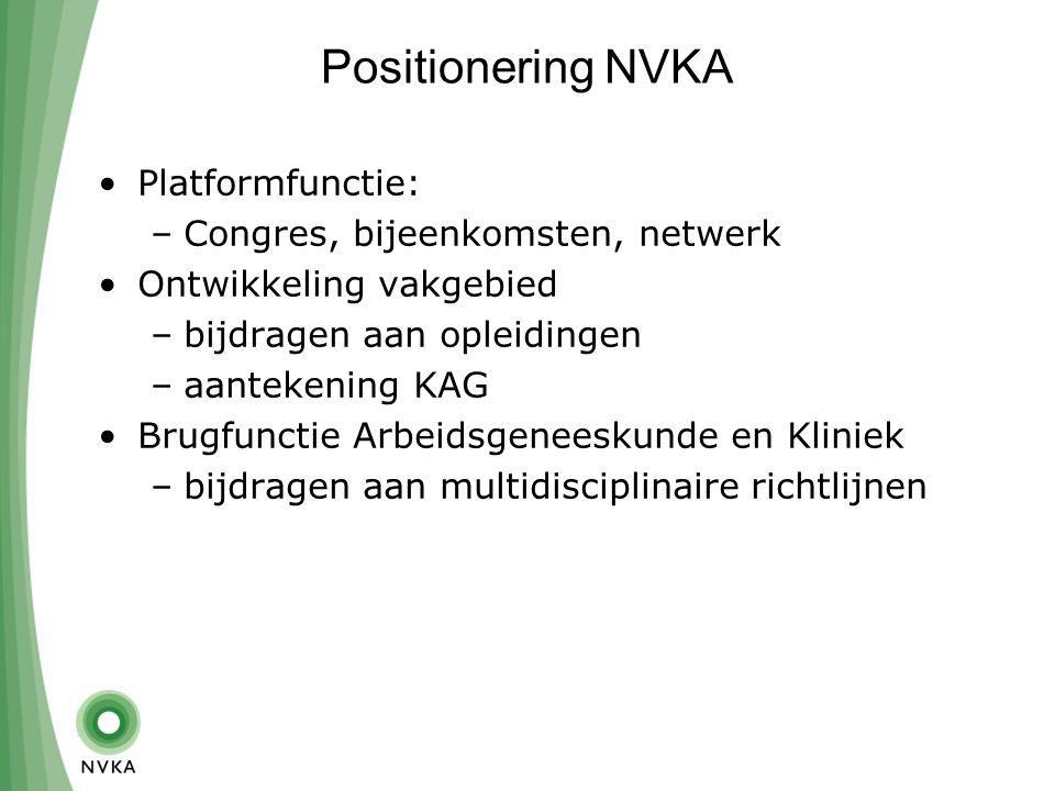 Positionering NVKA Platformfunctie: –Congres, bijeenkomsten, netwerk Ontwikkeling vakgebied –bijdragen aan opleidingen –aantekening KAG Brugfunctie Arbeidsgeneeskunde en Kliniek –bijdragen aan multidisciplinaire richtlijnen