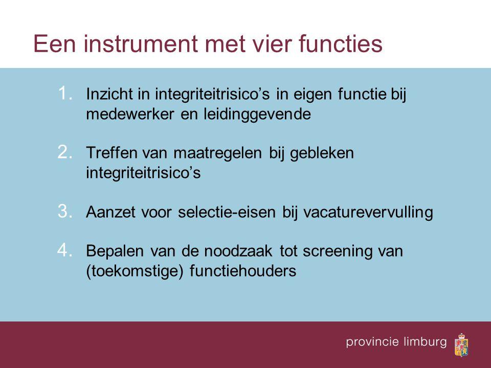 Een instrument met vier functies 1. Inzicht in integriteitrisico's in eigen functie bij medewerker en leidinggevende 2. Treffen van maatregelen bij ge