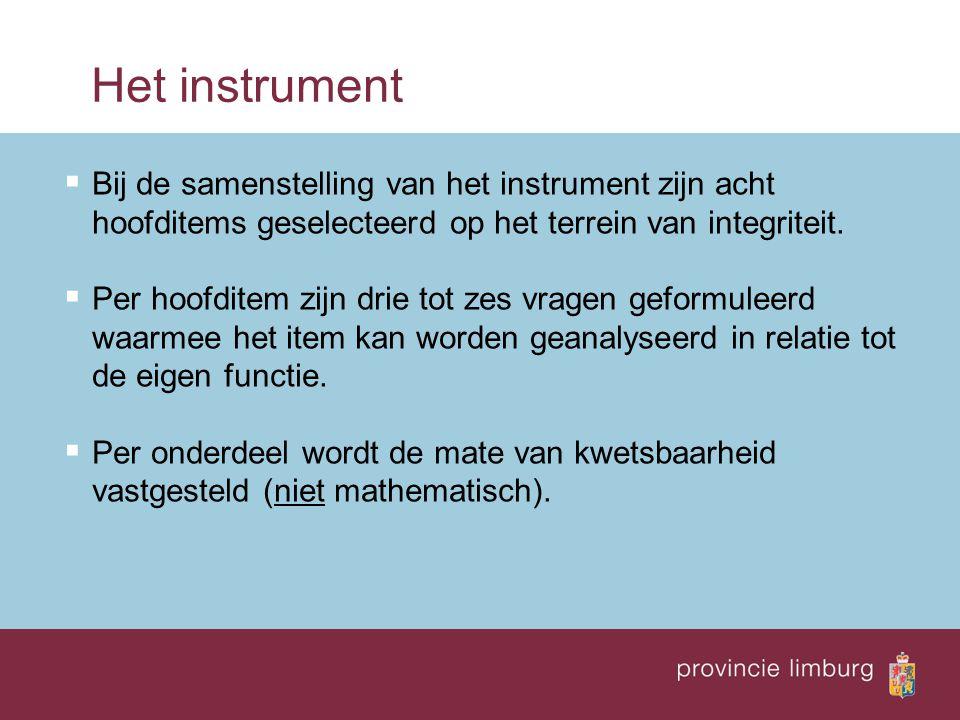Het instrument  Bij de samenstelling van het instrument zijn acht hoofditems geselecteerd op het terrein van integriteit.  Per hoofditem zijn drie t