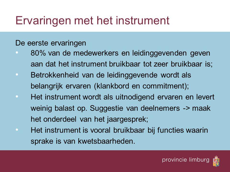 Ervaringen met het instrument De eerste ervaringen 80% van de medewerkers en leidinggevenden geven aan dat het instrument bruikbaar tot zeer bruikbaar
