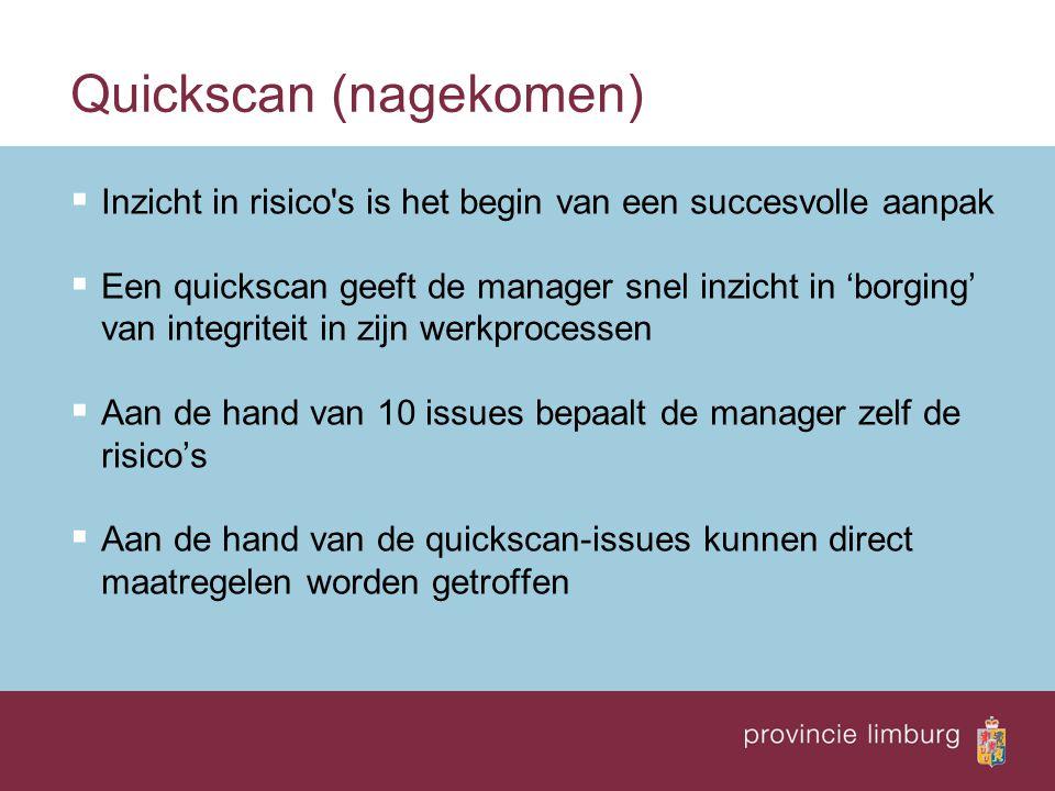 Quickscan (nagekomen)  Inzicht in risico's is het begin van een succesvolle aanpak  Een quickscan geeft de manager snel inzicht in 'borging' van int