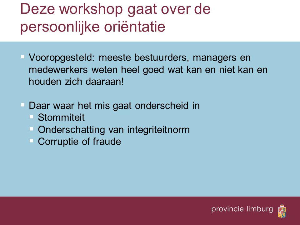 Deze workshop gaat over de persoonlijke oriëntatie  Vooropgesteld: meeste bestuurders, managers en medewerkers weten heel goed wat kan en niet kan en