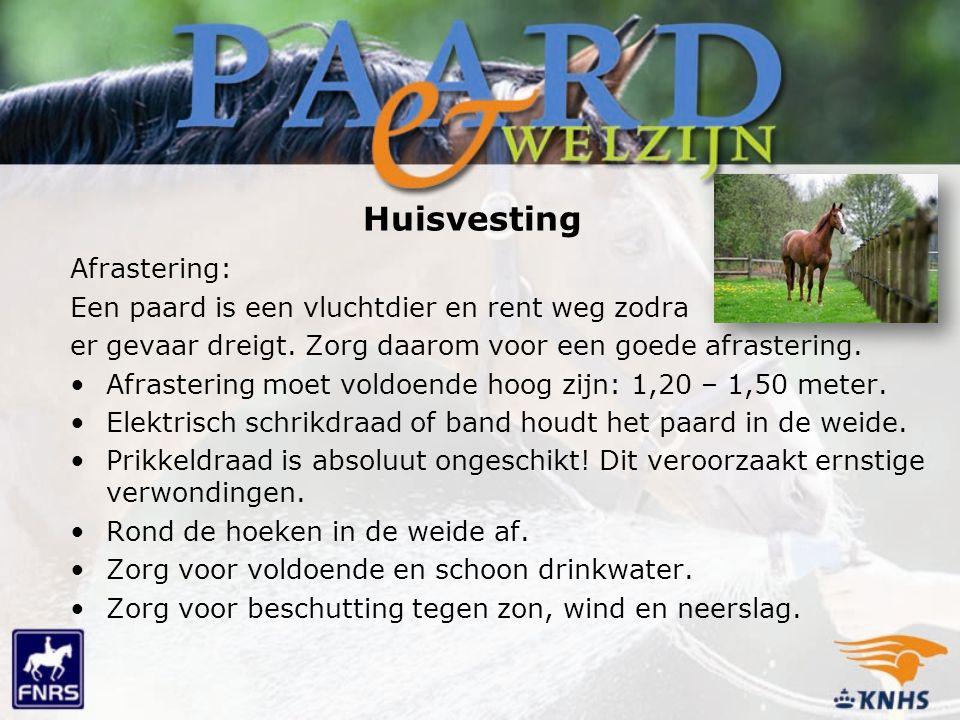Huisvesting Afrastering: Een paard is een vluchtdier en rent weg zodra er gevaar dreigt. Zorg daarom voor een goede afrastering. Afrastering moet vold