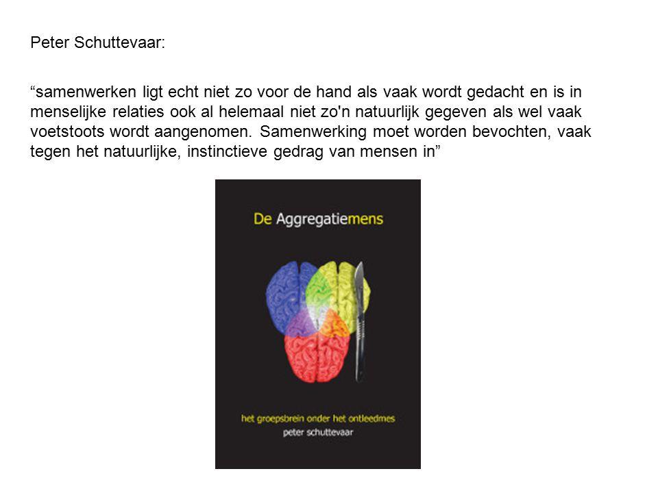 Peter Schuttevaar: samenwerken ligt echt niet zo voor de hand als vaak wordt gedacht en is in menselijke relaties ook al helemaal niet zo n natuurlijk gegeven als wel vaak voetstoots wordt aangenomen.