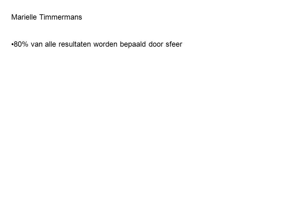 Marielle Timmermans 80% van alle resultaten worden bepaald door sfeer