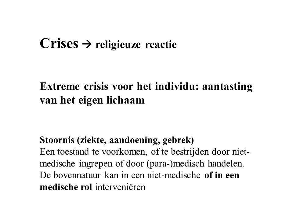 Crises  religieuze reactie Extreme crisis voor het individu: aantasting van het eigen lichaam Stoornis (ziekte, aandoening, gebrek) Een toestand te voorkomen, of te bestrijden door niet- medische ingrepen of door (para-)medisch handelen.