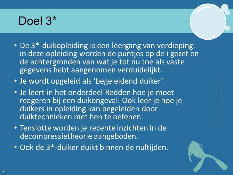 3*D: coördinator groepsduik Voorbereiding Noodprocedures Briefing De duik Debriefing Echt uitvoeren.