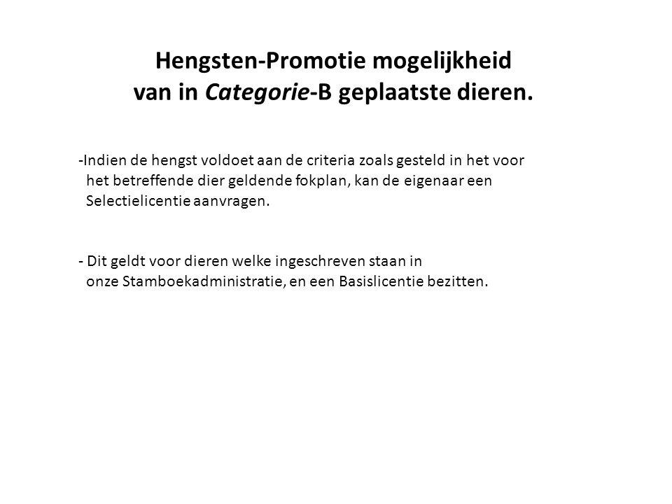 Hengsten-Promotie mogelijkheid van in Categorie-B geplaatste dieren.