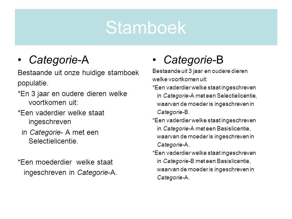 Stamboek Categorie-A Bestaande uit onze huidige stamboek populatie.