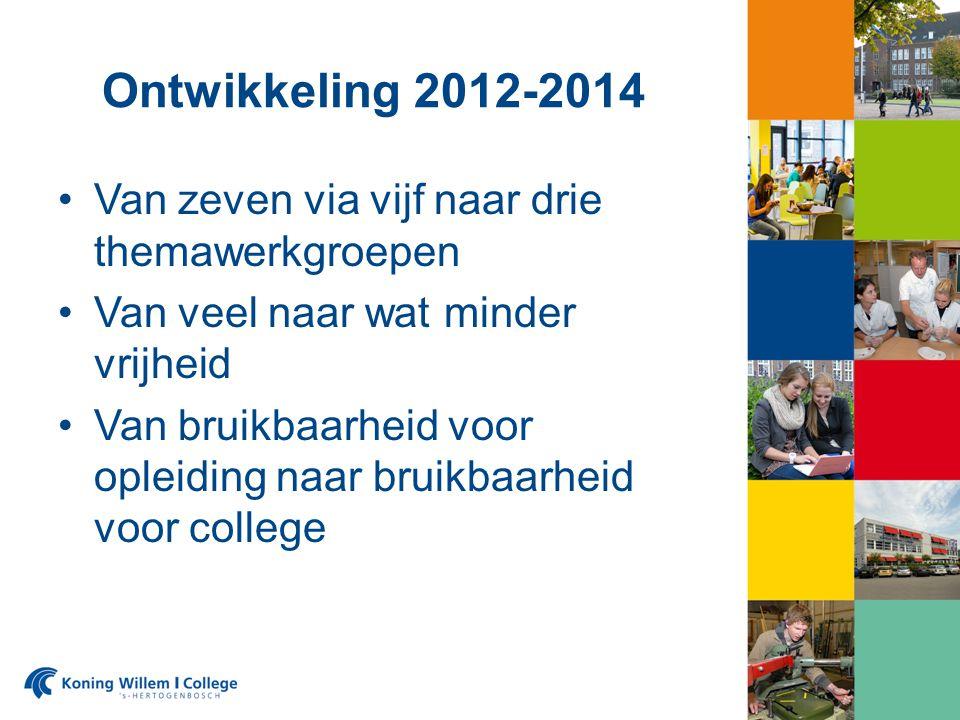 Ontwikkeling 2012-2014 Van zeven via vijf naar drie themawerkgroepen Van veel naar wat minder vrijheid Van bruikbaarheid voor opleiding naar bruikbaarheid voor college