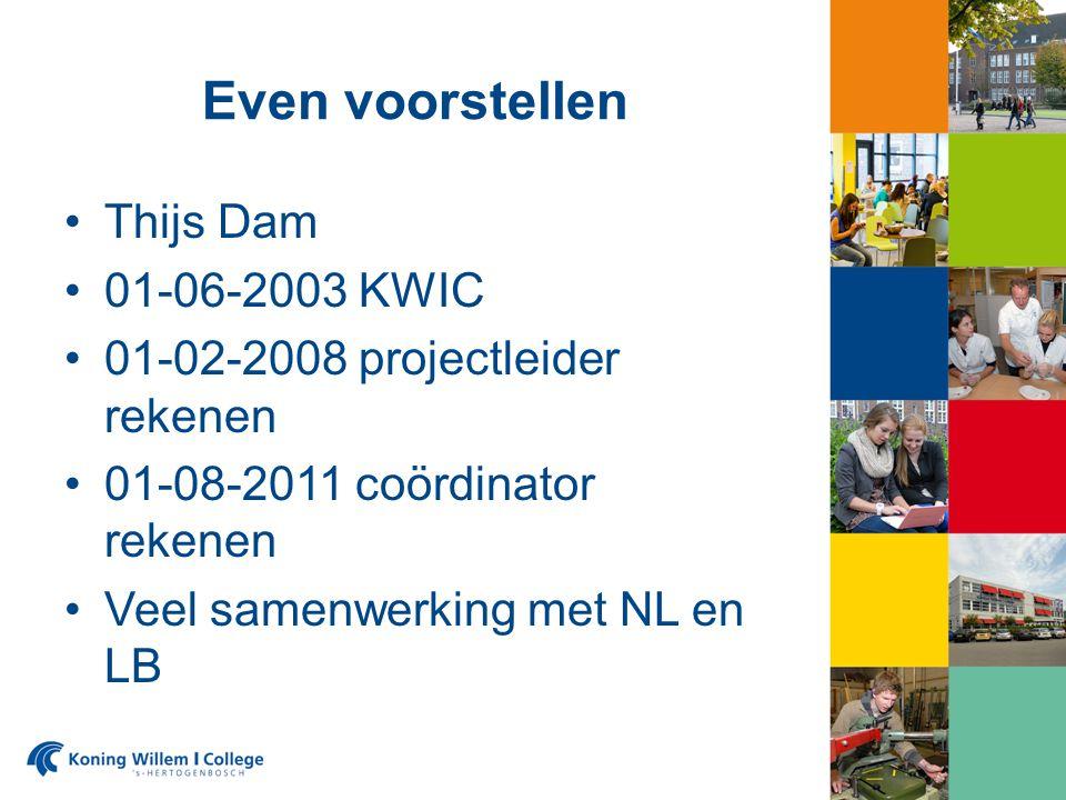 Even voorstellen Thijs Dam 01-06-2003 KWIC 01-02-2008 projectleider rekenen 01-08-2011 coördinator rekenen Veel samenwerking met NL en LB