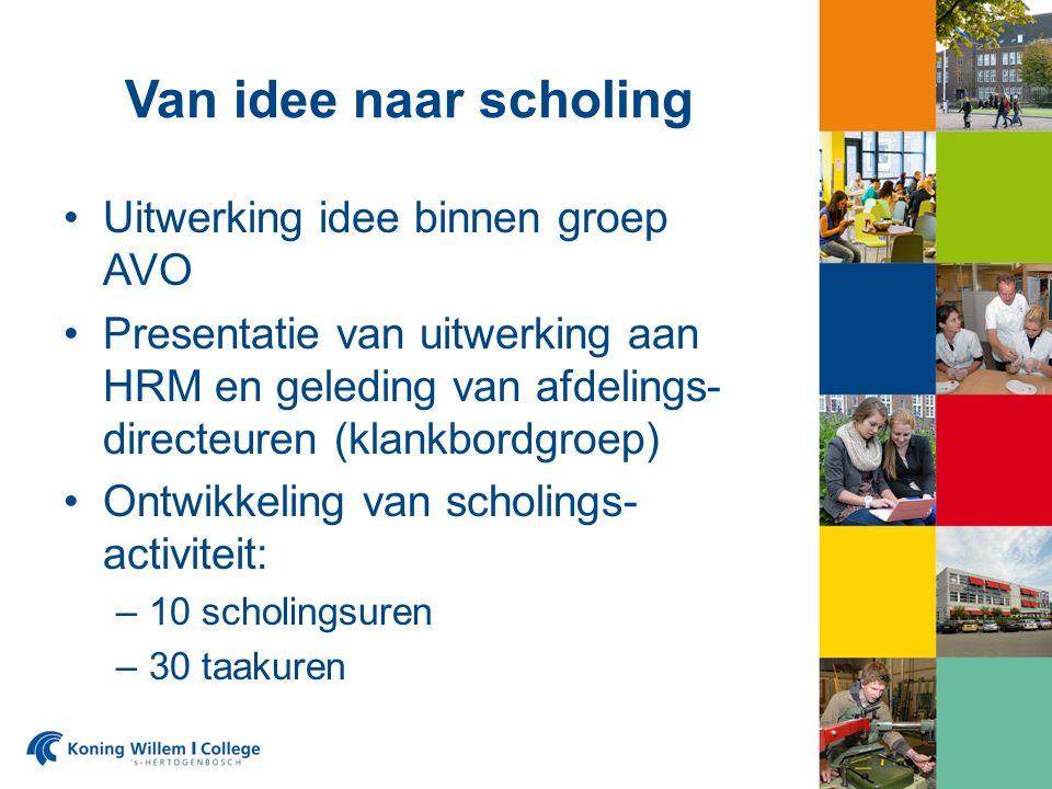 Van idee naar scholing Uitwerking idee binnen groep AVO Presentatie van uitwerking aan HRM en geleding van afdelings- directeuren (klankbordgroep) Ontwikkeling van scholings- activiteit: –10 scholingsuren –30 taakuren